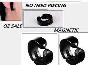 Black-Hoop-Magnetic-Stainless-Steel-Titanium-Fake-Earrings-clip-on-no-ear-hole