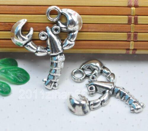 Wholesale 30pcs Tibetan silver Lobster Charms Collier Pendentifs 27 mm