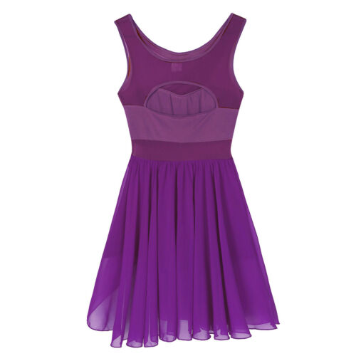 US Women Sleeveless Ballet Dance Dress Gymnastics Leotard Stretchy Dancewear