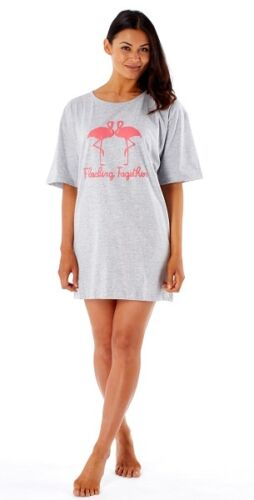 Ladies Grey Flocking Together Flamingos Oversize Sleepy Tee One Size Fits All