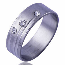 Mens fashion jewelry Clear crystal White Gold Filled Band Ring ring 11