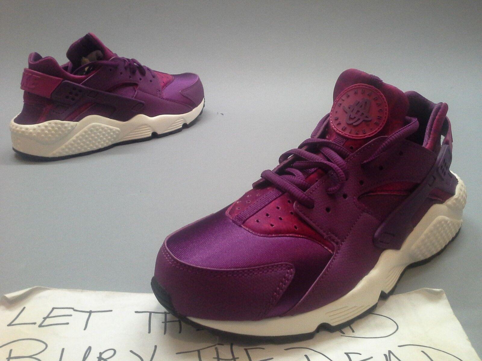 New Wmns Nike Huarache Run Print Mulberry 725076-500 Maroon Burgundy White