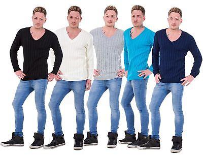 """Motiviert Mens Plain Classic Chunky Cable Knitted """"v Neck"""" Top Knitwear Jumper Sweater Eine GroßE Auswahl An Modellen"""