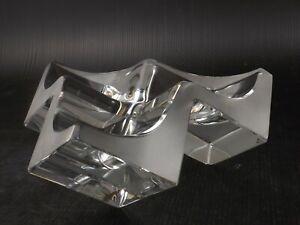 Daum-Triform-Cube-Crystal-Art-Glass-Sculpture-Vide-Poche-Bowl-Ashtray-France