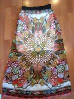 Sugar 17 S Small Multi Colored Orange Red Long Sheer Filmy Skirt Lined