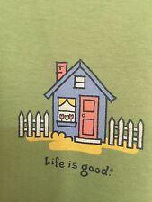 """LIFE IS GOOD WOMENS Dark Green """"House"""" 100% cotton t-shirt size L NWOT"""