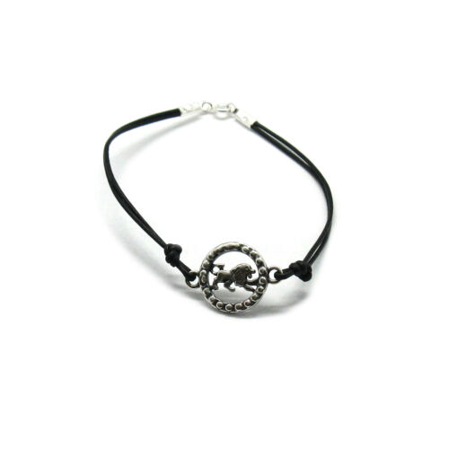 Sterling Silver Bracelet Solid 925 Zodiac Sign Leo With Leather Handmade Empress