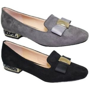 7085e1564979bb Image is loading FLC053-Rutter-Bow-Loafers-Faux-Suede-Rhinestone-Low-