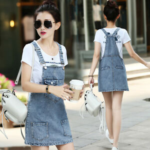 good looking elegant in style diversified in packaging Details about 2X Women Casual Denim Mini Club Skirt Suspender Overall  Jumper Jean Strap Dress