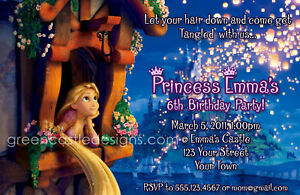Tangled invitations 20 custom personalized birthday party invites image is loading tangled invitations 20 custom personalized birthday party invites filmwisefo