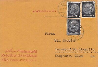 Grenouille Treu KÖln Argus Handelsauskunft Johann W Postkarte 1937