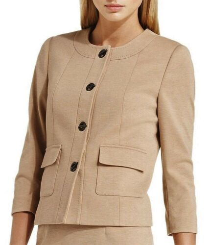 4p Blazer Collarless Klein Womens Camel Carriera Size Petite Calvin Classic Giacca aRw1Uqav