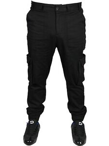 Only-amp-Sons-Men-039-s-New-Cargo-Pants-Cuffed-Chinos-Black-Trouser-Multi-Pockets