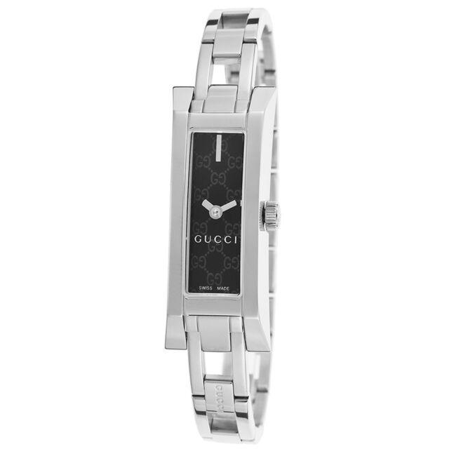 Gucci Ya110526 Women S G Link Black Pattern Stamped Dial Mini Bracelet Watch