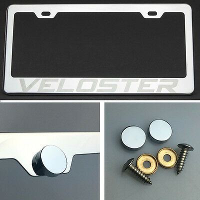 Veloster Stainless Steel Chrome Finished License Plate Frame W// Caps