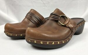 ECCO-Women-s-Studded-Brown-Leather-Wedge-Heels-Mules-Shoes-Sz-EU-39-US-8-8-5