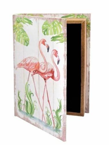 Folianten Flamingo Design NEU Buch Box Tresor Schachtel Holz Sommer Mittel Safe