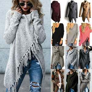 Womens-Pullover-Jumper-Sweater-Tops-Coat-Cardigans-Poncho-Cape-Outwear-Tassel