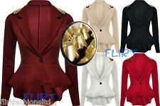 Peplum Studded Blazer Jacket Spike Stud Frill Tail Celebrity Style Womens Ladies