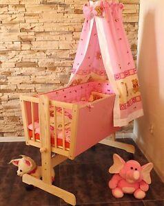 baby wiege baby stubenwagen komplett set rosa himmel. Black Bedroom Furniture Sets. Home Design Ideas