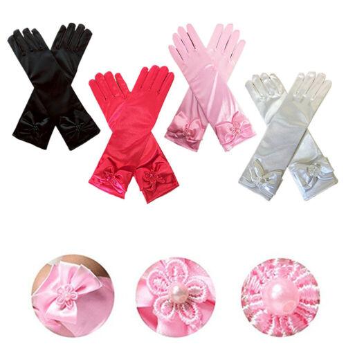 Kids Girls Long Satin Bowknot Gloves Bridesmaid Princess Costume Wedding Party