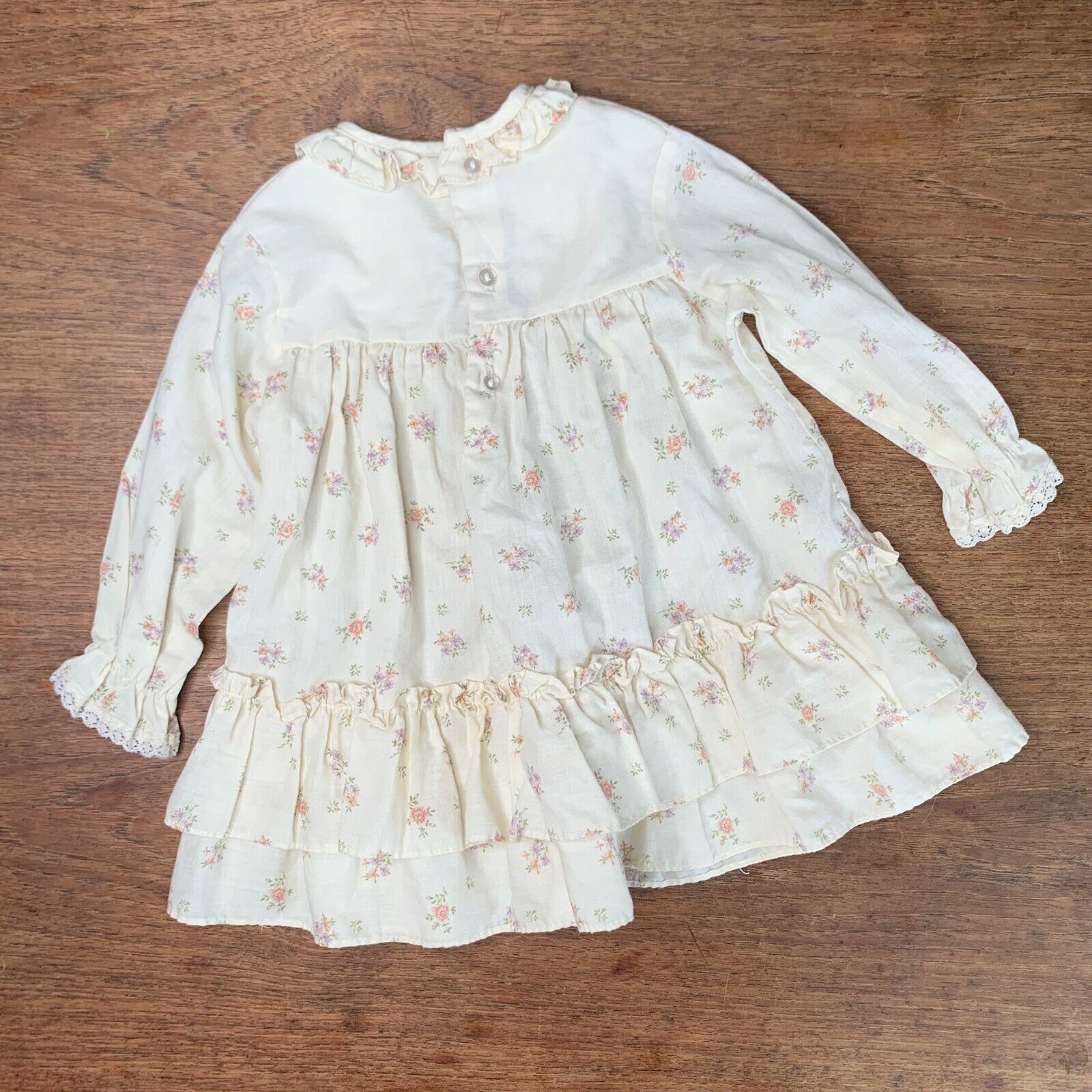 Vintage Girls 3T Tiered Prairie Dress Floral Lace… - image 4