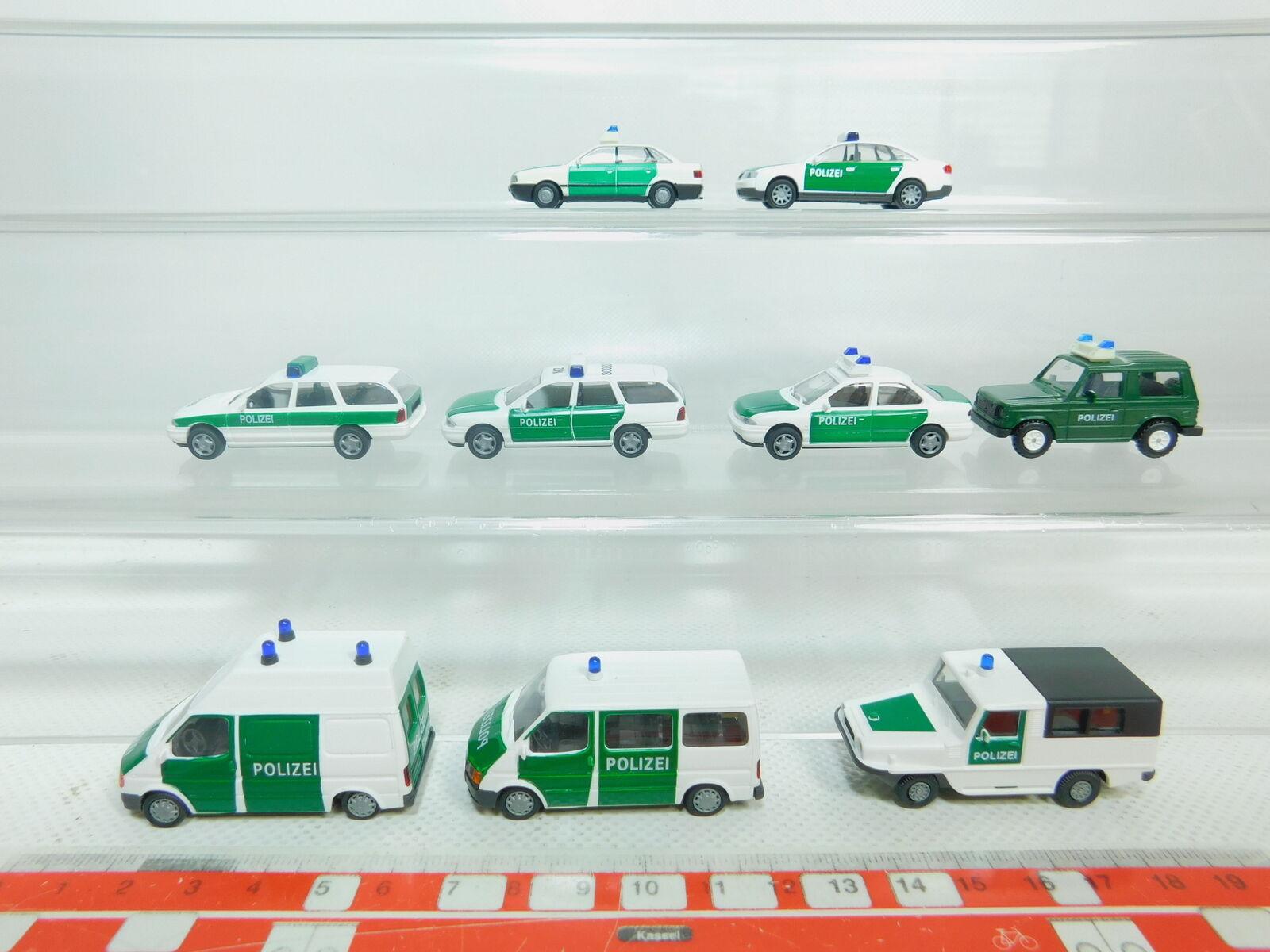 Bn161-0, 5  9x Rietze h0 1 87 AUTO POLIZIA  FORD AUDI + + MITSUBISHI + Amphi-Ranger, TOP