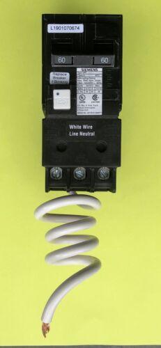 SIEMENS QF260A 2-Pole 120//240VAC 60A GFCI Circuit Breaker w//PigTail