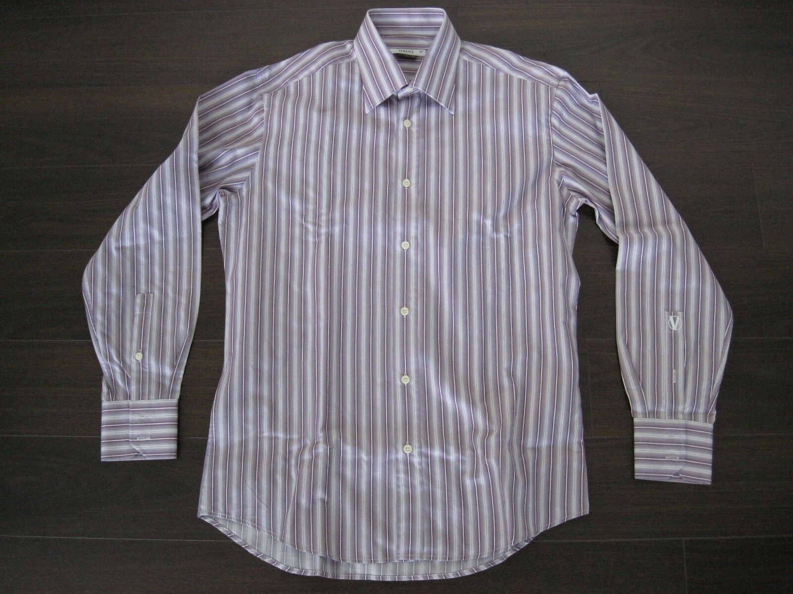 NWOT Versace Collection lila Striped Pin Dress Shirt 15 ¾ 40 sz. 250+