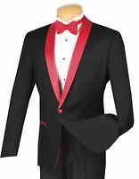 Men's Black 1 Button Slim Fit Tuxedo Suit W/ Red Sateen Lapel & Trim Prom
