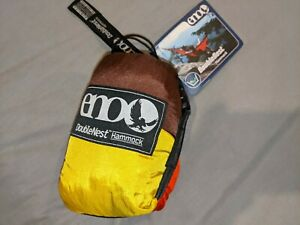 ENO DoubleNest Hammock Orange Chocolate Yellow Two Person (New with tags)