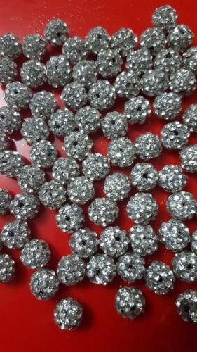 10 x New SLIVER diamond beads for Asian outfits and dresses
