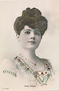 c1905 Tinted Madame Fritzi Schell, Opera Singer and Actress, Jeweled Postcard