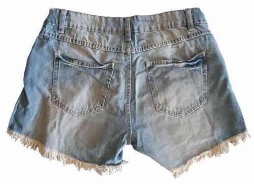 REGNO Unito Taglie 6-14 Donne Lavato sbiancato Bianco Nero Pantaloncini Di Jeans Hotpants
