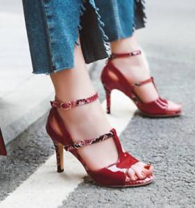 Women-Snakeskin-T-strap-Buckle-Stilettos-High-Heels-Open-Toe-Sandals-Shoes-SZ-A3