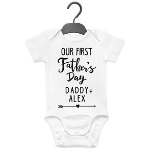 f19c2dae7 OUR FIRST FATHER'S DAY PERSONALISED BABY GROW VEST CUSTOM FUNNY GIFT ...