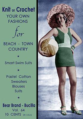 Bear Brand #64 c.1933 Vintage Swimwear & Resort Knitting Patterns