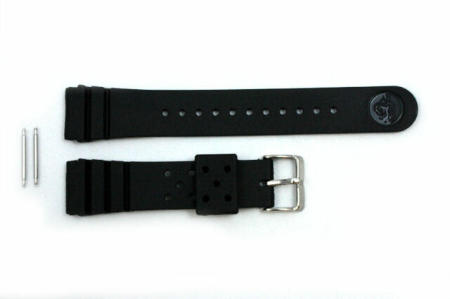 22mm for SEIKO Z-22 Divers Heavy Black Rubber Watch Band Strap w/ 2 Spring Bars