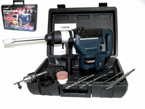 """1-1//2/"""" ELECTRIC ROTARY HAMMER DRILL WITH BITS SDS PLUS ROTO TOOL 1.5 HP"""