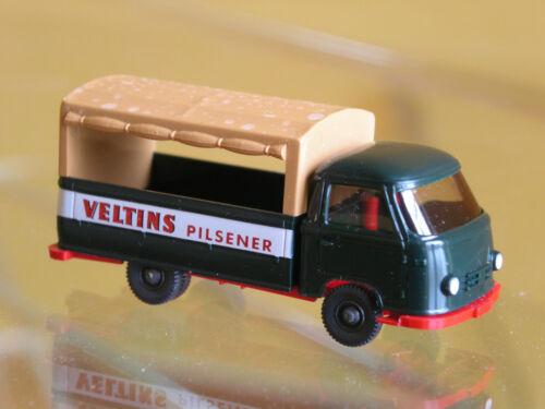 selten: Wiking Werbemodell Borgward Pritsche mit Plane Veltins Bier