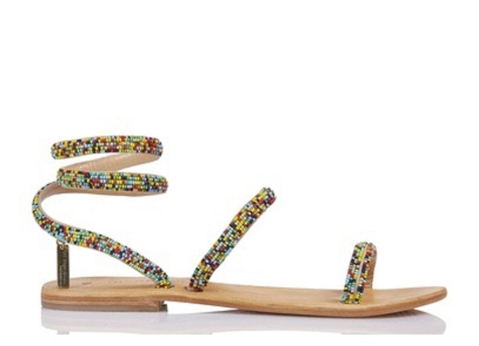 Les Tropeziennes MultiColor Olga Plana Sandalias de cuero con bordados bordados bordados de cuentas de 39 9  mejor moda