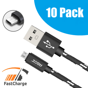 10 Pack 4ft 6ft 10ft Micro USB Cable FAST Charger Data Sync Cord for Samsung