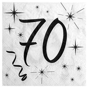 70 Geburtstag Servietten Schwarz Weiss Tischdeko Dekoration Passende