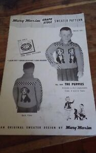 Vintage-Mary-Maxim-The-Puppies-Cardigan-Sweater-Cowichan-style-child-size-4-6