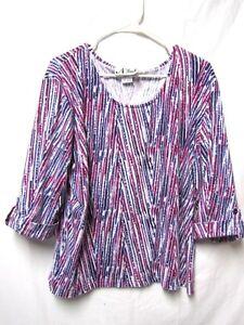 N-TOUCH-top-shirt-blouse-XL-16-18-Bust-50-white-purple-pink-Modern-Print