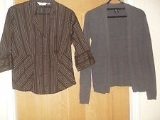 NEXT PETITE SZ 10 BLOUSE AND GAP GREY OPEN FRONT CARDIGAN SMALL GOOD WORK R PLAY