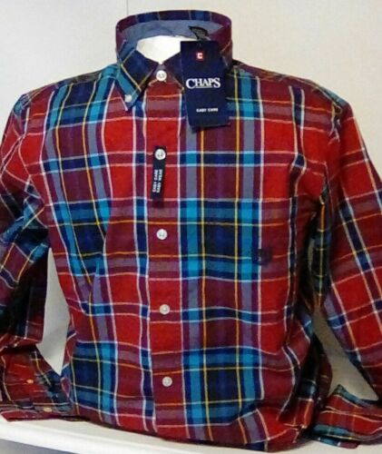 NEW Chaps Men/'s Easy Care Long Sleeve Plaid Button Up Shirt Size Small $55