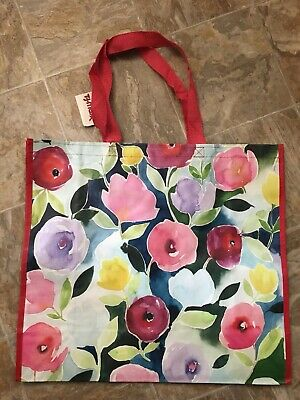NEW TJ Maxx Shopping Bag Elephant Floral Background Reusable Travel Tote