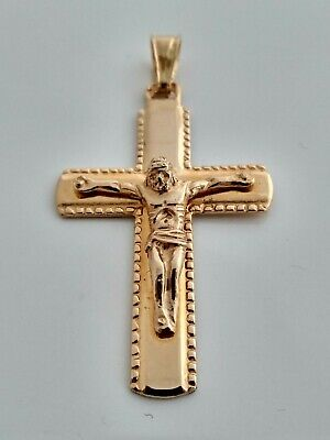Jesus 10K Yellow Gold Cross  With Diamond Cuts #A1B9 1.5 Inches Long Angel