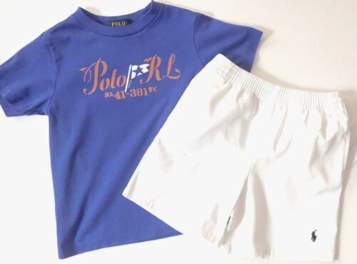 NWT Boys Ralph Lauren Shorts and blue t-shirt set outfit age 24 months 2 years